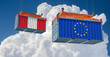 Freight container with European Union and Peru flag. 3D Rendering
