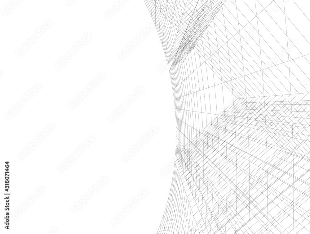Fototapeta Concept 3d architecture building, vector illustration