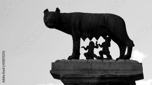 Fototapeta Statue of she-wolf in the capitol seen in silhouette