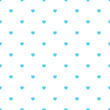 Cute Blue Seamless Polka Heart...