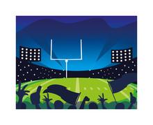Football Stadium With Lights, ...
