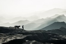 Silhouette Man With Horse Walking On Mountain Against Sky