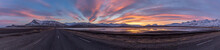 Panoramic View Of Sunset On Ring Road, Iceland, Europe,