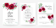 Wedding Invitation Card Template Set With Rose, Anemone Flowers, And Leaves. Elegant Colorful Floral Decoration Concept For Save The Date, Greeting, Details, Etc. Botanic Illustration Vector