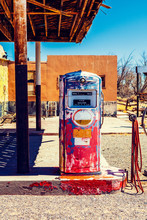 Retro Gas Pump On American Road