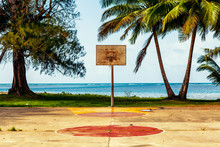 Basketball Court With Ocean An...