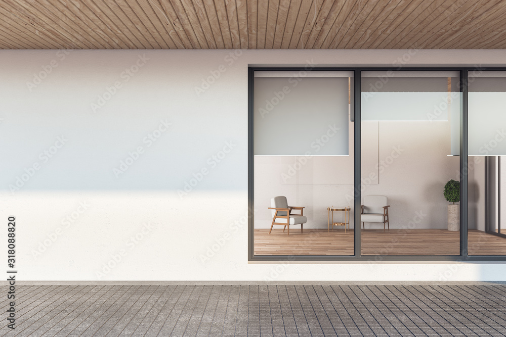 Fototapeta Building facade apartment with window and blank wall