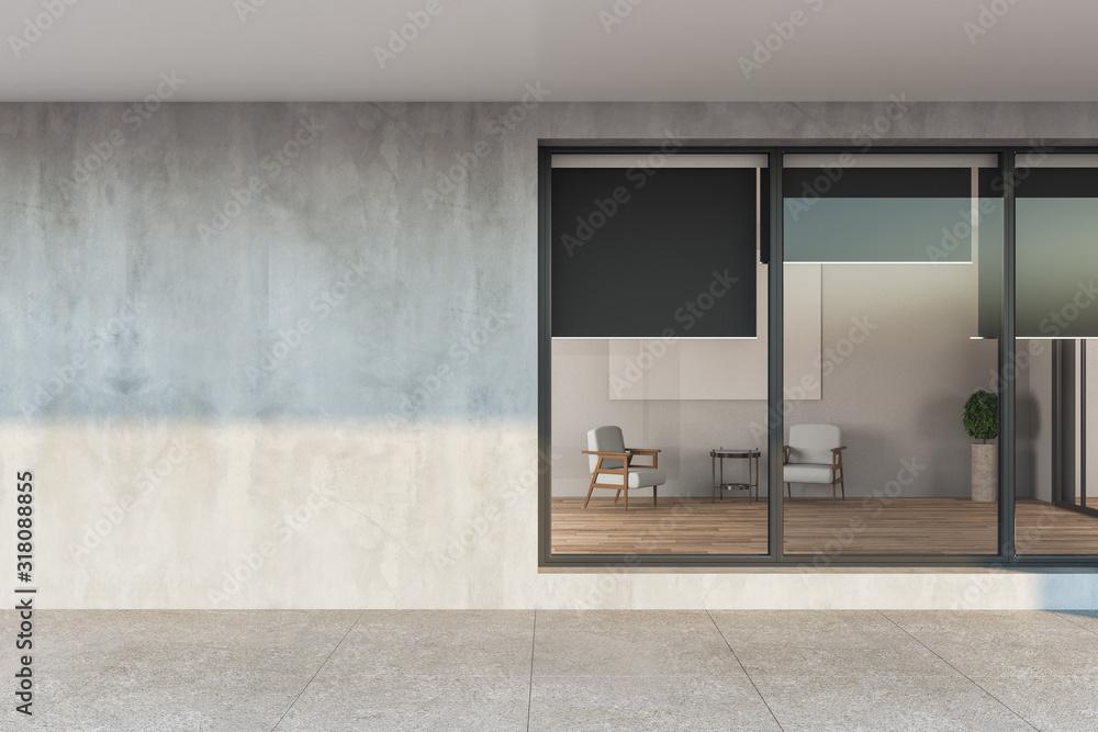 Fototapeta Modern apartament house with gray facade