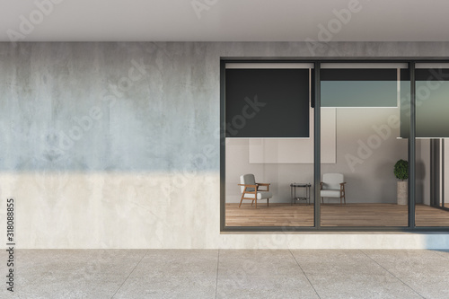 Canvas Print Modern apartament house with gray facade
