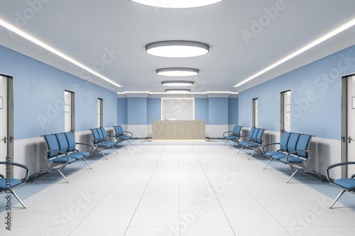 Fotografia, Obraz Waiting room in hospital interior with reception.