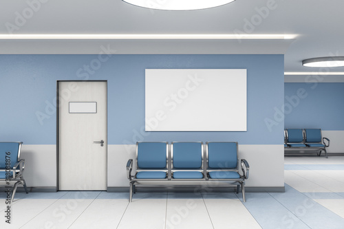 Photo Contemporary waiting room and blank poster
