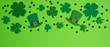 canvas print picture - Frame border of shamrock, four leaf clovers and Irish elf hats on green background. Happy St. Patrick's Day concept.