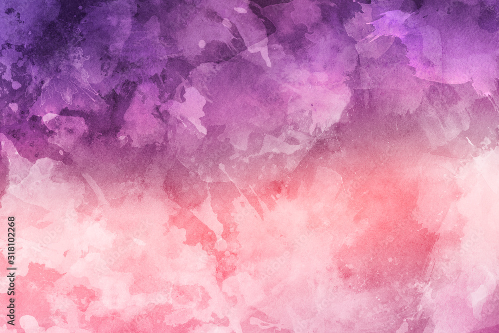 Fototapeta purple and pink dramatic water color colored with abstract shapes for the colorful