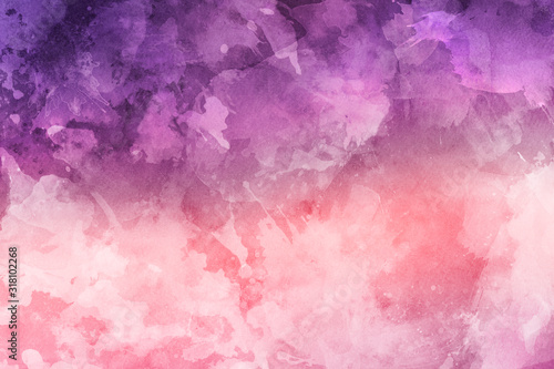 Fototapeta purple and pink dramatic water color colored with abstract shapes for the colorf