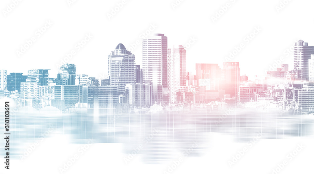 Fototapeta Abstract city building skyline metropolitan area in contemporary color style and futuristic effects. Real estate and property development. Innovative architecture and engineering concept.