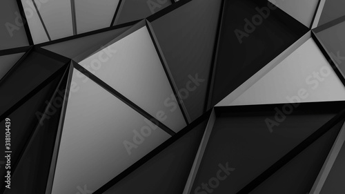 Abstract wallpaper, grey surface triangles with black wire mesh 3d render illustration