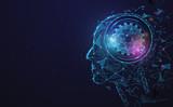 Fototapeta Łazienka - AI, Artificial intelligence. Ai digital brain. Robotics concept. Human face made from polygon. Illustration vector