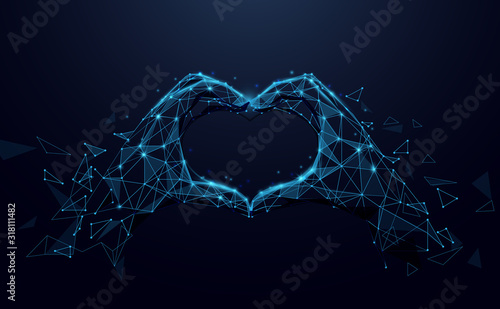 Obraz Hands making heart sign. Valentines day background. Abstract lines, triangles and particle style design. Illustration vector - fototapety do salonu