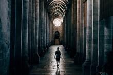 Silhouette Man Walking In Church