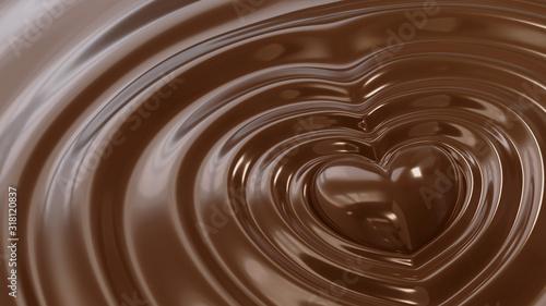 液体のチョコレートに埋もれるハート型のチョコレート。愛、バレンタインのコンセプト。