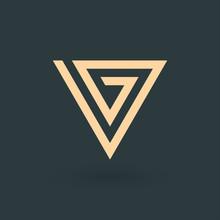 VG V G Letter Logo Triangle De...