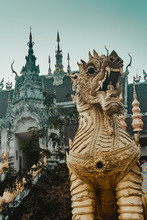 Dragon Statue By Temple Agains...