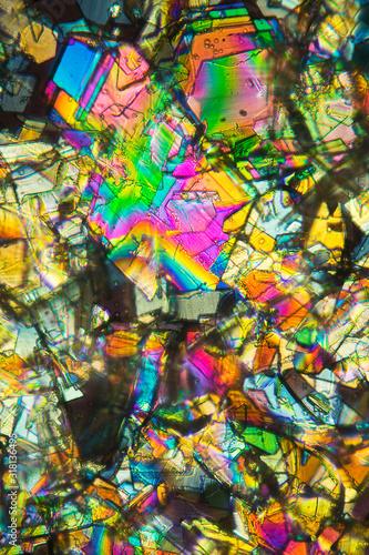 Colorful abstract micrograph of phenylalanine, an amino acid. Wallpaper Mural