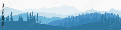 Foto Vector illustration of mountains, ridge in the morning haze, panoramic view