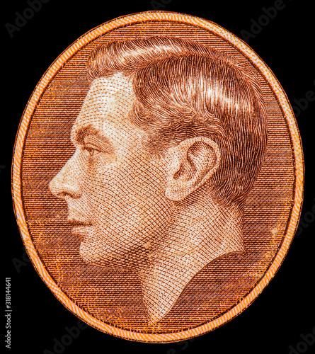 Valokuvatapetti King George VI  portrait from Bermuda 5 shillings 1937 banknotes