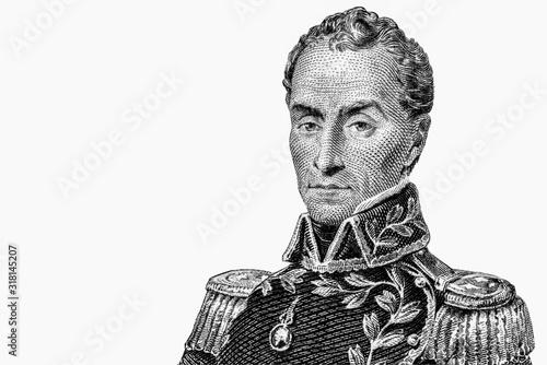 Fotografía Simon Bolivar, portrait from Ecuador Banknotes