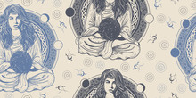 Magic Woman. Seamless Pattern. Packing Old Paper, Scrapbooking Style. Vintage Background. Medieval Manuscript, Engraving Art. . Girl In Lotus Pose. Symbol Meditation, Astrology, Magic, Yoga