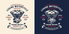 Illustration Double Piston Engine For Shirt / Apparel Logo Design Inspiration.