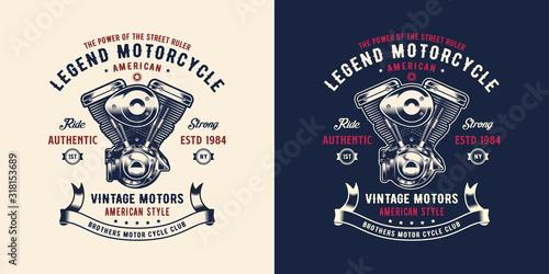 Fototapeta Illustration Double Piston Engine for shirt / apparel logo design inspiration