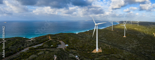 Panoramic aerial view of the Albany wind farm, originally commissioned in 2001, Billede på lærred
