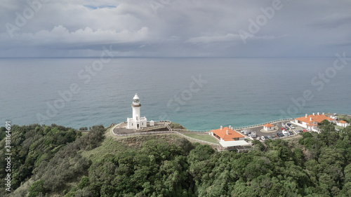 Vászonkép Air view of Byron Bay Lighthouse in moody weather