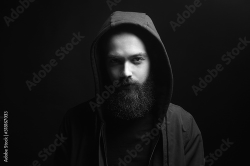 Canvastavla Fashionable Man In Hood. Bearded Handsome Boy