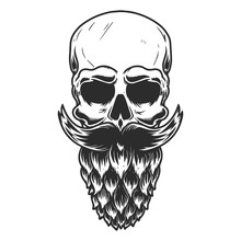 Human Skull With The Beard Mad...