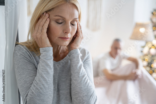Fotografía Terrible headache of woman at home stock photo