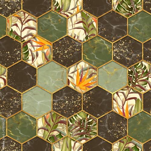 marmurowa-szesciokatna-bezszwowa-tekstura-z-zlotem-tlo-rosliny-tropikalne