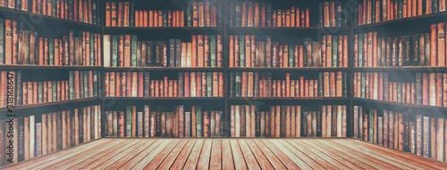 Obraz na plátně blurred bookshelf Many old books in a book shop or library