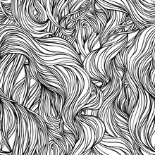 Natural Texture. Decorative Hand Drawn Doodle Ornamental Curly Seamless Pattern. Vector Endless Background. Stormy Sea Line Art Drawing. Splash Ocean, Clouds Or Hair.