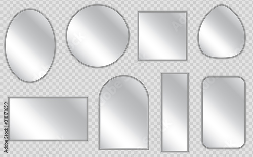 Vector realistic mirrors set with blurry reflection. Realistic empty mirrors with reflect in mockup style. Set of realistic mirrors of different shapes