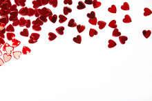 Red Heart Shaped Confetti Isol...