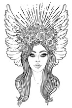Magic Night Fairy. Hand Drawn Portrait Of A Beautiful Shaman Girl With Angel Wings. Alchemy, Religion, Spirituality, Occultism, Tattoo Art. Isolated Vector Illustration. Coloring Book Page For Adults