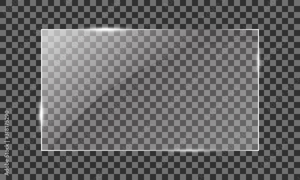 Fototapeta Vector glass rectangle on a transparent background. Transparent mirror, realistic glare window