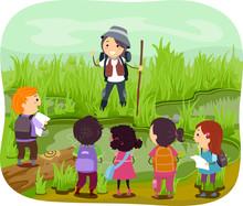 Stickman Kids Girl Wetland Explore Illustration