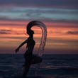 Side View Of Silhouette Woman Tossing Wet Hair In Sea Against Sky During Sunset