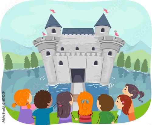 Stickman Kids Moat Castle Illustration Canvas Print