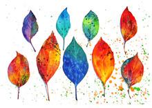 水彩の技法を使って葉...