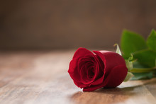 Red Rose On Wood Table With Copy Space
